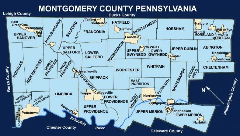 Montgomery County, PA Map