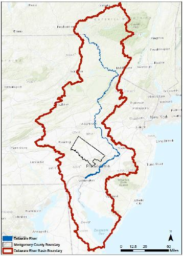 Montgomery County within the Delaware River Basin 358x501