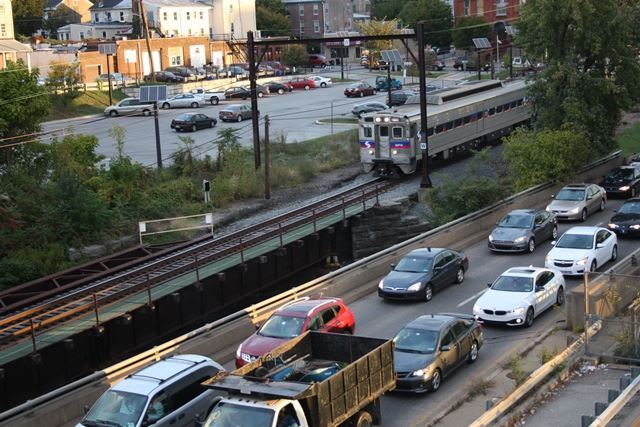 Traffic on Route 202 and SEPTA Train in Norristown